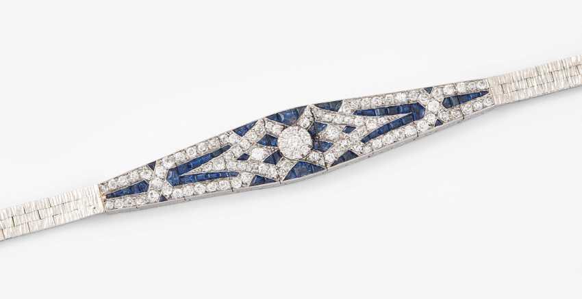 Art-Deco-Diamond-Sapphire-Bracelet - photo 1