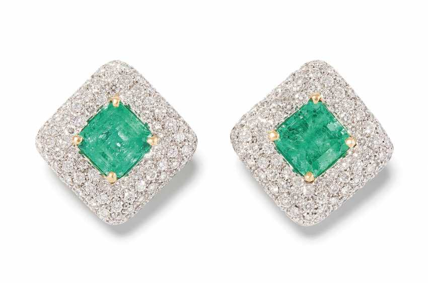 Emerald And Diamond Clip Earrings - photo 1
