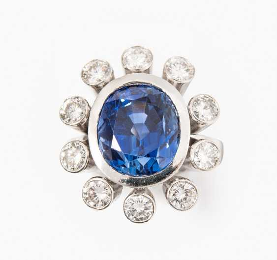 Ceylon-Saphir-Brillant-Ring - photo 1