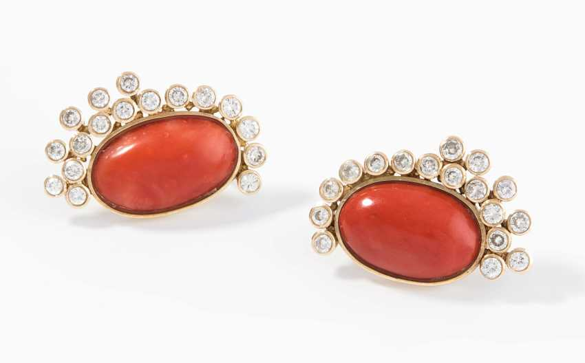 Coral And Diamond Clip Earrings - photo 1
