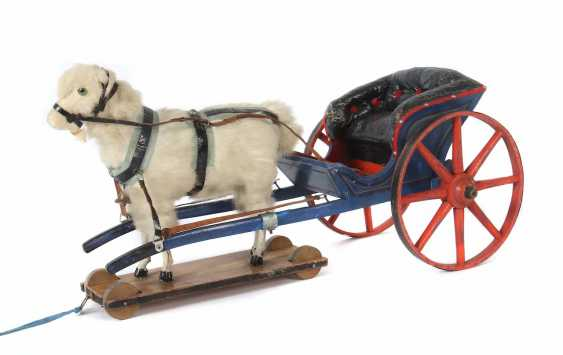 Goat with wooden carriage, probably Erzgebirge - photo 1