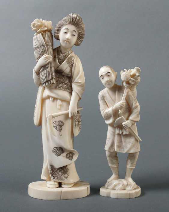 """2 Okimono """"flower seller in"""" Japan - photo 1"""