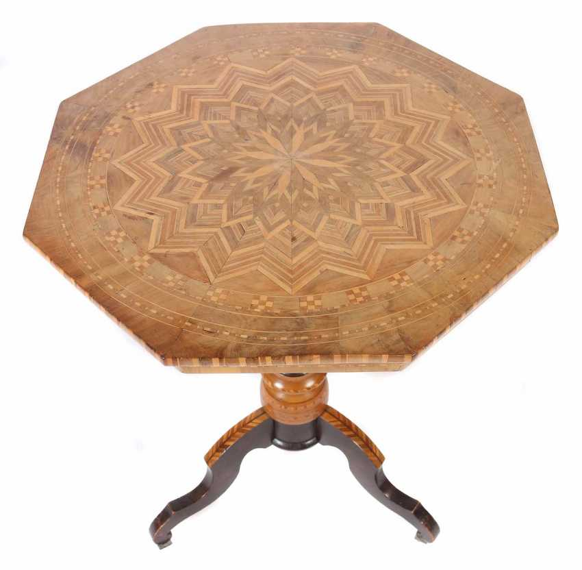 Italian salon table with star marquetry probably of Sorrento - photo 1