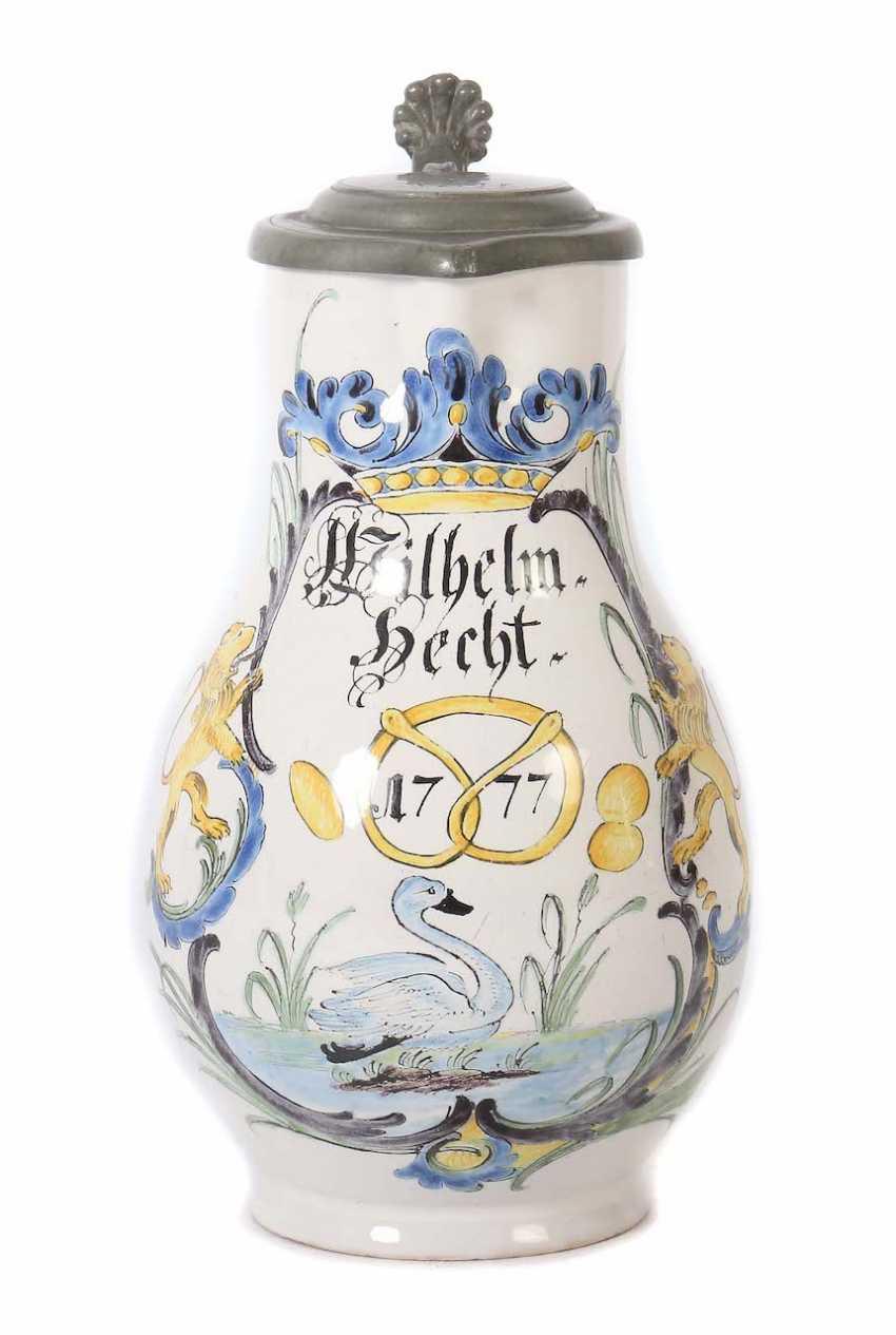 "Baker pitcher dedicated to ""Wilhelm Hecht"" Durlach - photo 1"