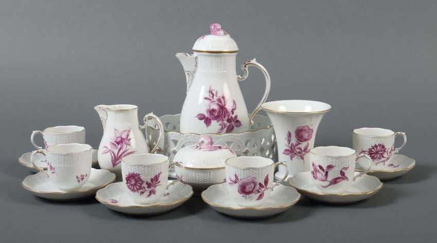 Mocha service with purple Camaieu painting for 6 persons Ludwigsburg - photo 1
