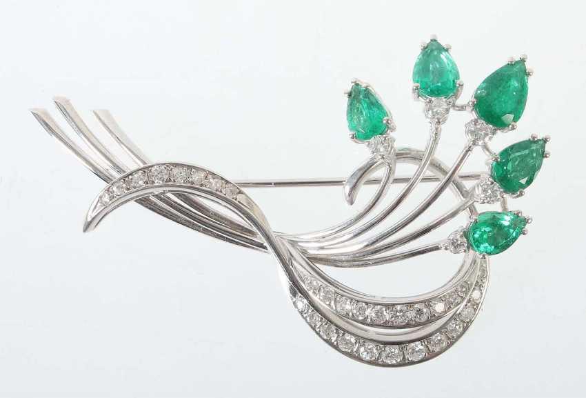 Emerald And Brilliant Brooch Jewelry Jacobi/Stuttgart - photo 1