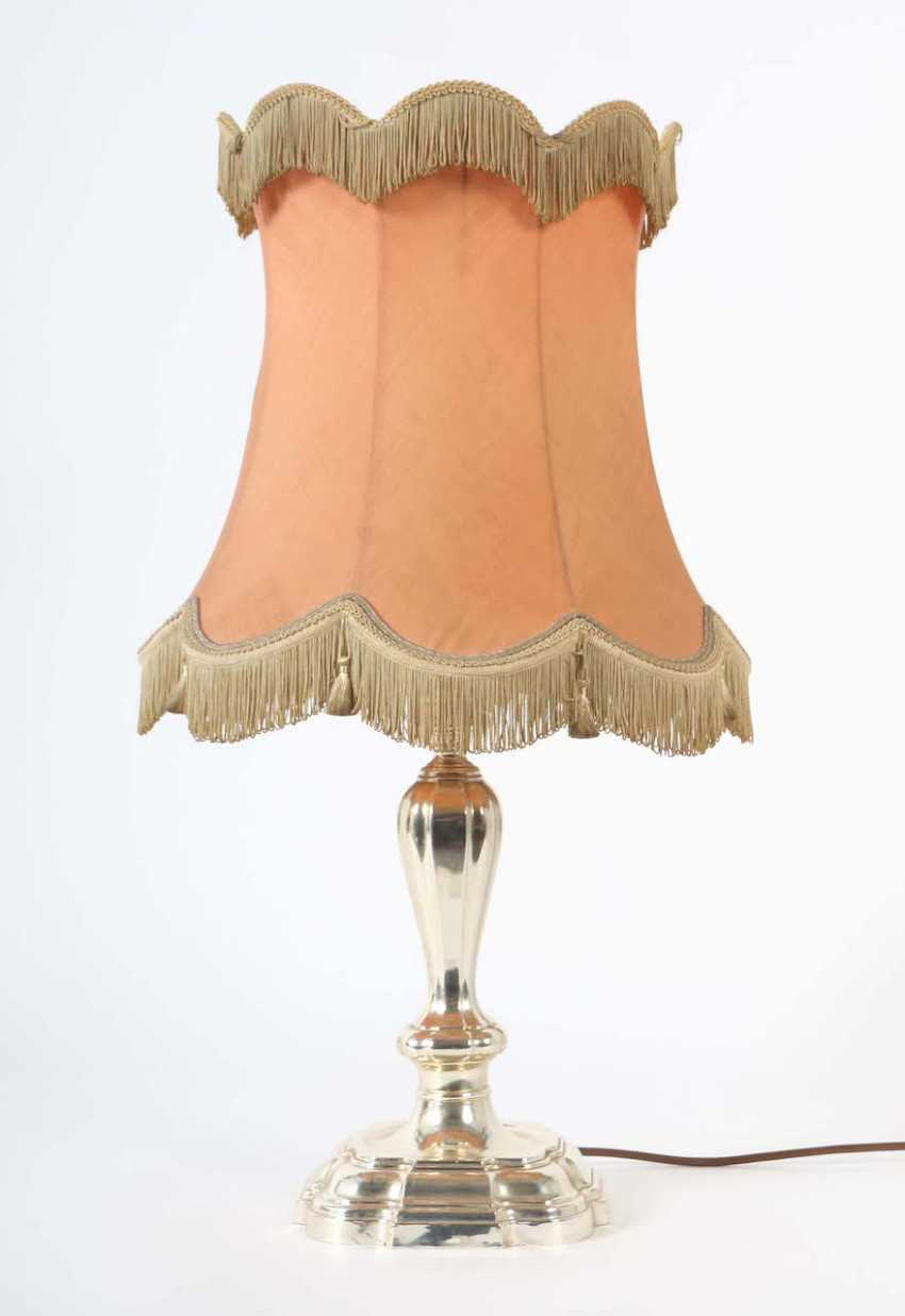 Lamp with a silver foot (table lamp, later electrified) - photo 1