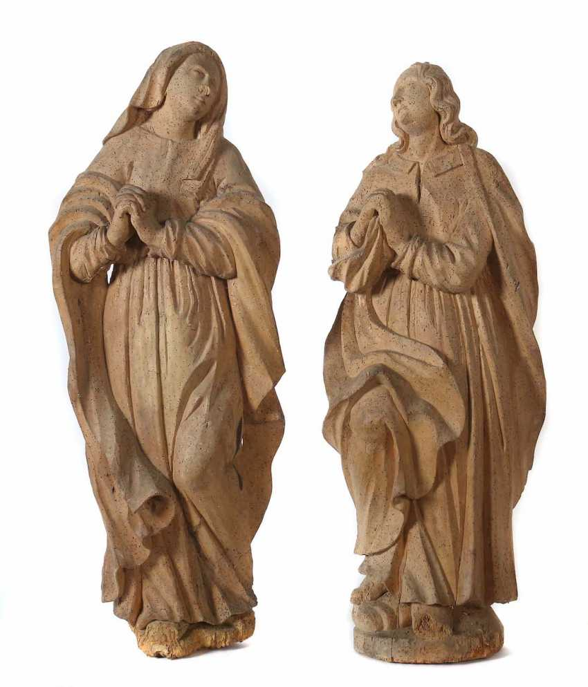 """Baroque sculptors of the 18th century. Century, """"John"""" and """"Mary"""" wood carved - photo 1"""