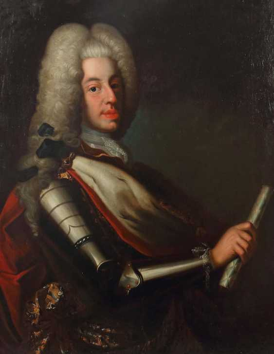 "Portrait artist of the 18th century. Century ""noble portrait"" of an armor-clad man with a white wig - photo 1"
