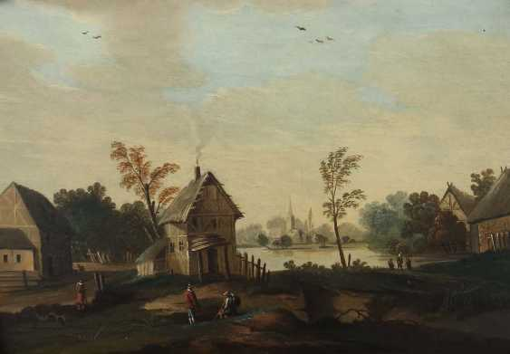 """Landscape painter of the 19th century. Century """"shore lot with figure staffage"""" - photo 1"""