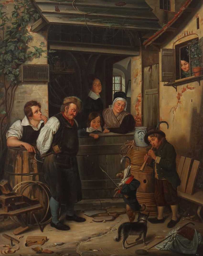 "German painter of the 19th century. Century ""in Front of the Cooper's workshop"" - photo 1"