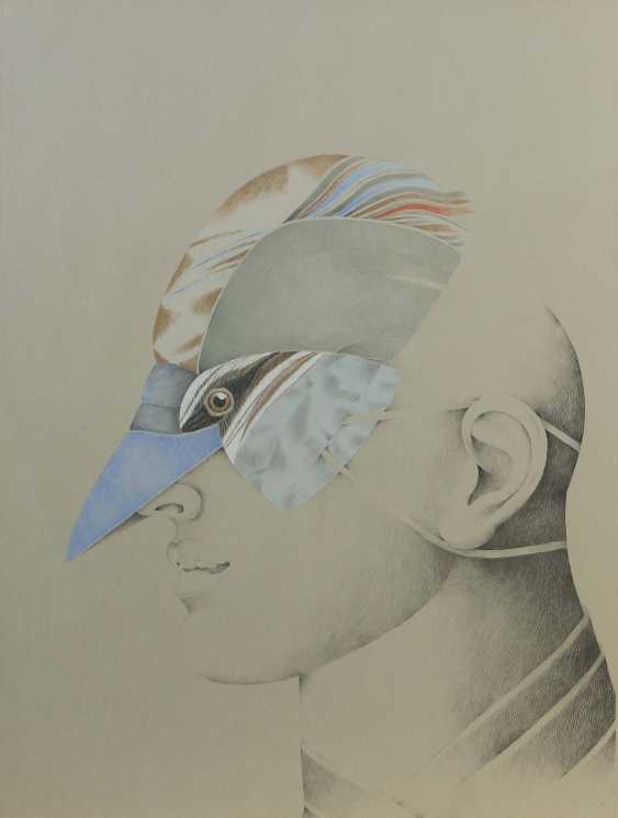 """Graphic designers of the 20th century. Century """"head in profile"""" with a bird mask - photo 1"""