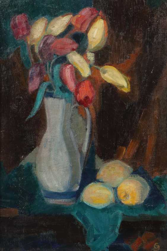 "Monogram mist GS (?) Painter of the 19th century./20. Century. ""Still life with tulips"" - photo 1"