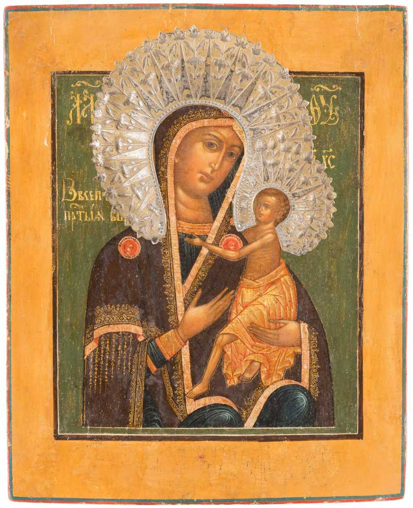 ICON OF THE MOTHER OF GOD 'OVSEPETAJA' (THE GENERAL PRIESENE) WITH APPLIED NIMBEN - photo 1