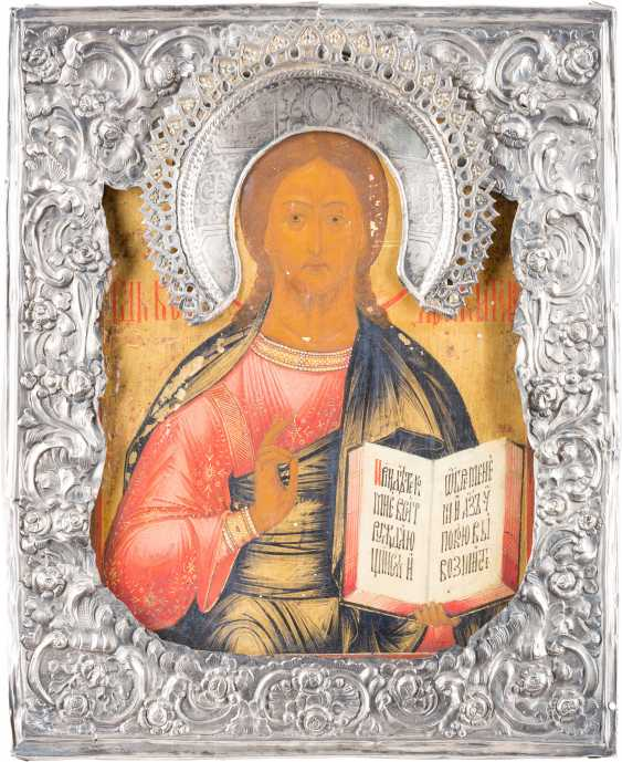 A SMALL ICON WITH CHRIST PANTOKRATOR WITH SILVER BASMA - photo 1