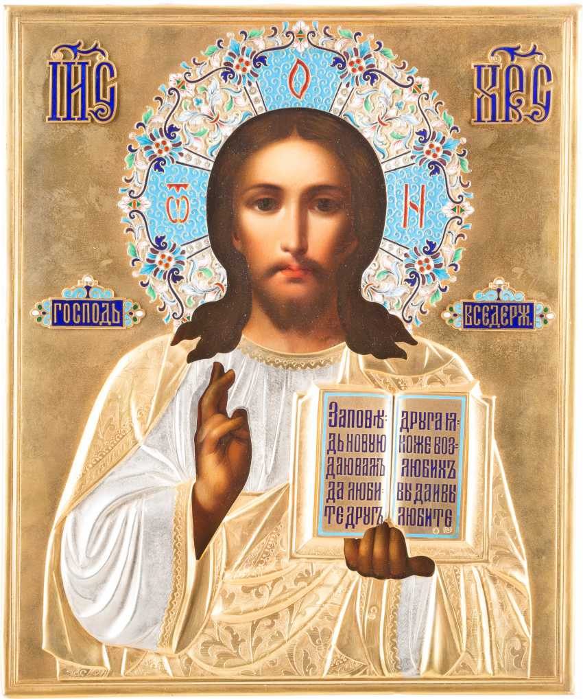 ICON MIT CHRISTUS PANTOKRATOR MIT CLOISONNÉ-EMAIL-OKLAD - photo 1
