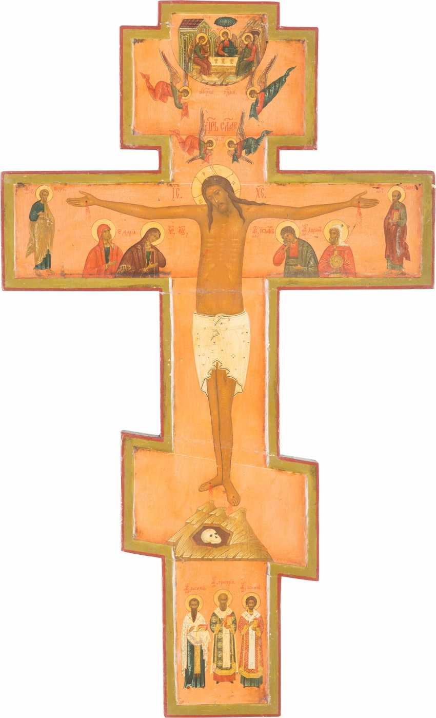 LARGE CRUCIFIX WITH THE CRUCIFIED CHRIST AND SELECTED SAINTS - photo 1