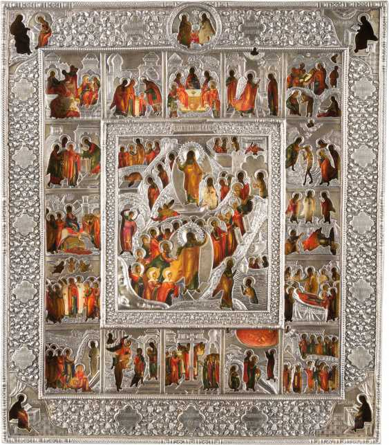 LARGE-SCALE ICON OF THE DESCENT INTO HELL AND RESURRECTION OF CHRIST WITH THE HIGH STRENGTH OF THE ORTHODOX CHURCH YEAR WITH VERMEIL-OKLAD - photo 1