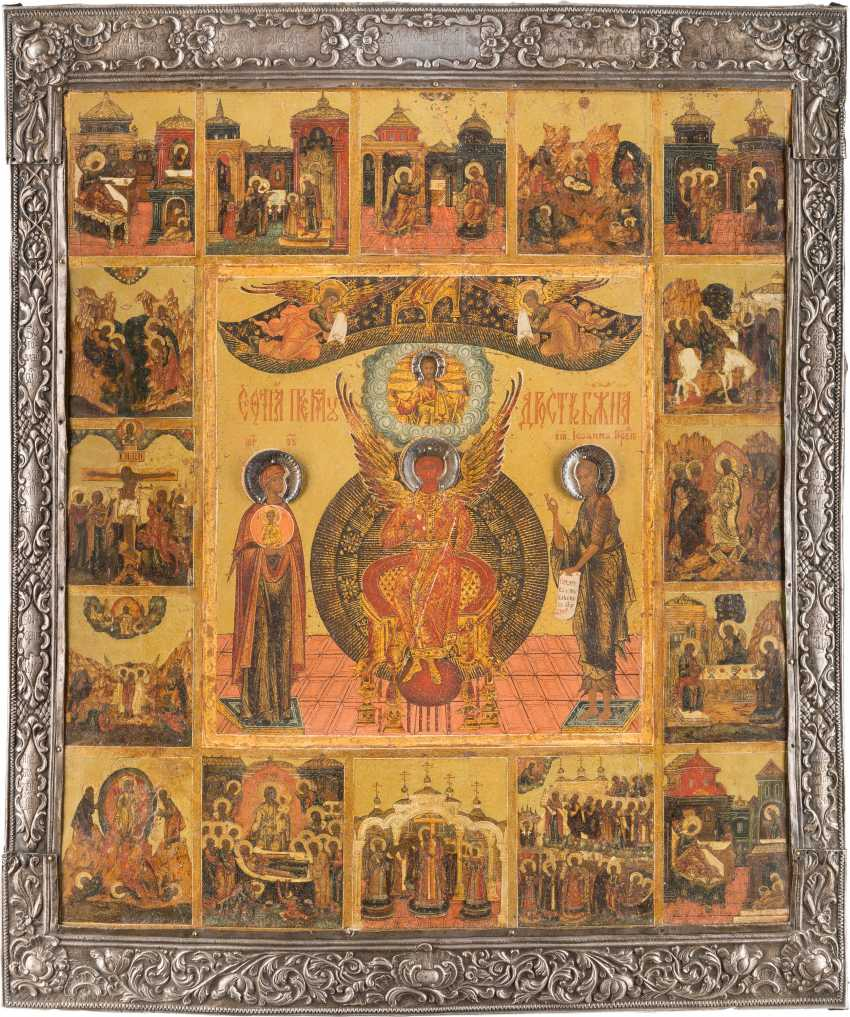 RARE AND LARGE-FORMAT ICON WITH SOPHIA, THE DIVINE WISDOM, WITH 16 HIGH STRENGTH OF THE ORTHODOX CHURCH YEAR, WITH SILVER BASMA - photo 1