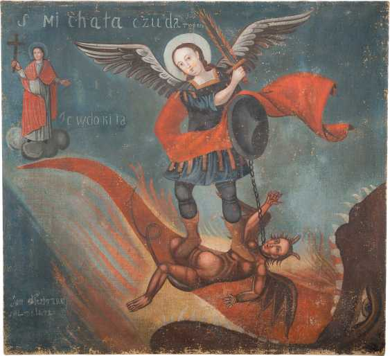 BIG PAINTING WITH THE ARCHANGEL MICHAEL IN THE FIGHT AGAINST THE DEVIL - photo 1
