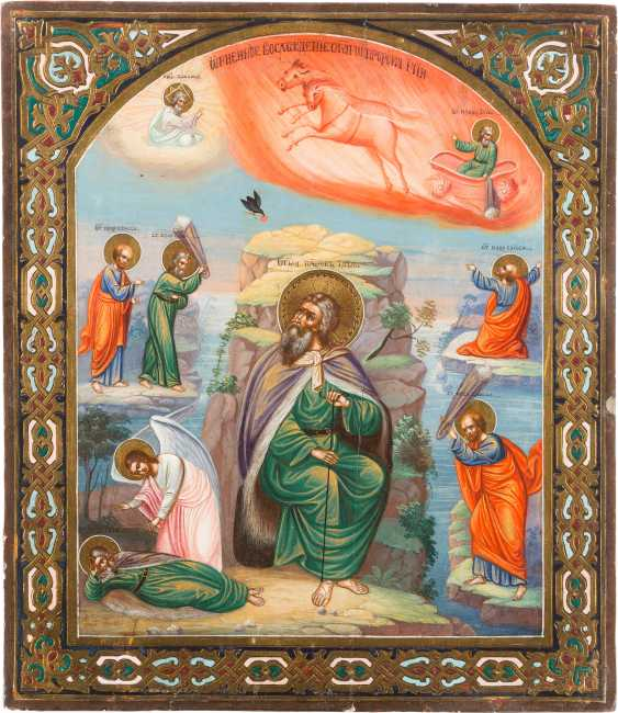 ICON WITH THE PROPHET ELIJAH, HIS LIFE IN THE DESERT AND HIS FIERY ASCENSION - photo 1
