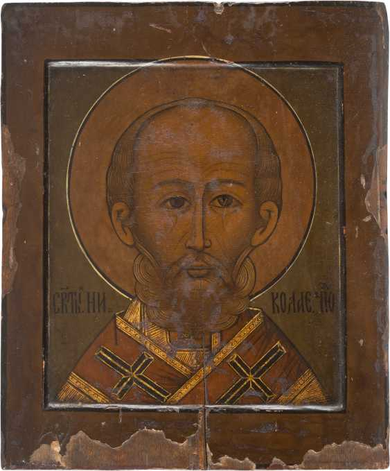 TWO ICONS: SAINT NICHOLAS OF MYRA AND IS A PATRON OF ICON WITH SIX SAINTS - photo 2