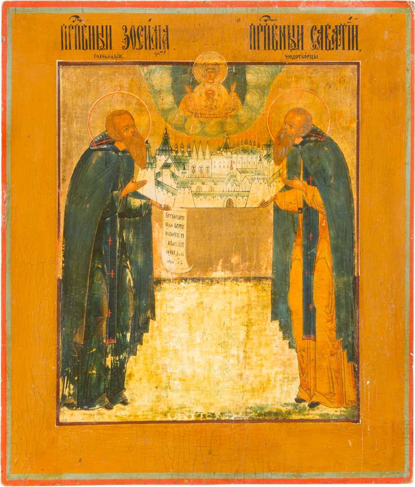 ICON WITH THE HOLY MONASTERY FOUNDERS ZOSIMA AND SAWATIJ - photo 1