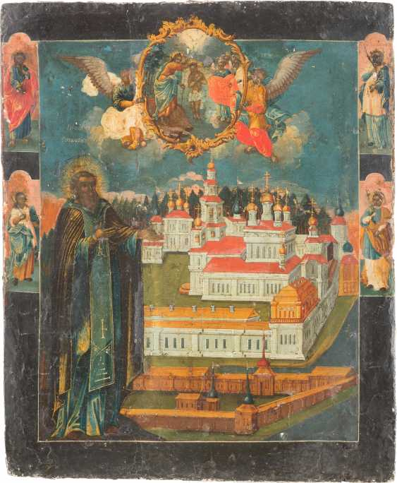 FINE DATED ICON WITH THE HOLY NILE STOLOBENSKIJ IN FRONT OF THE NILOV MONASTERY - photo 1