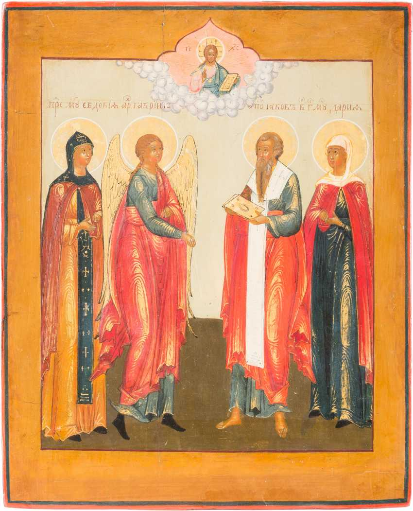 A SMALL ICON WITH SAINT EUDOKIA, THE ARCHANGEL GABRIEL, JACOB AND DARIA - photo 1