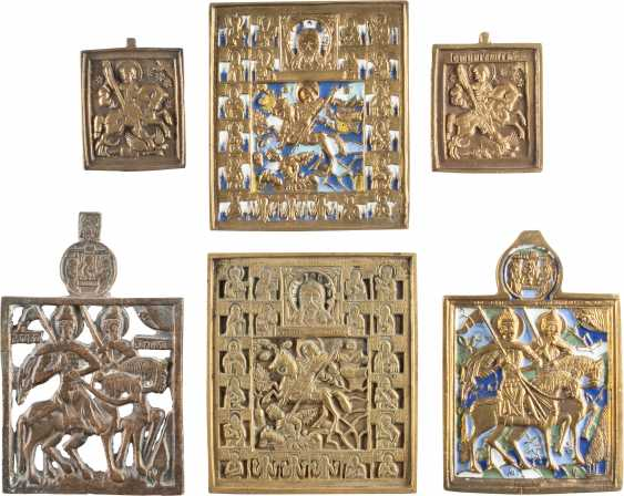 COLLECTION OF SIX BRONZE ICONS WITH TAB HOLY - photo 1