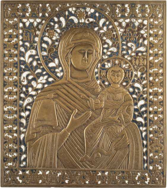 LARGE BRONZE ICON OF THE MOTHER OF GOD OF SMOLENSK (SMOLENSKAYA) - photo 1