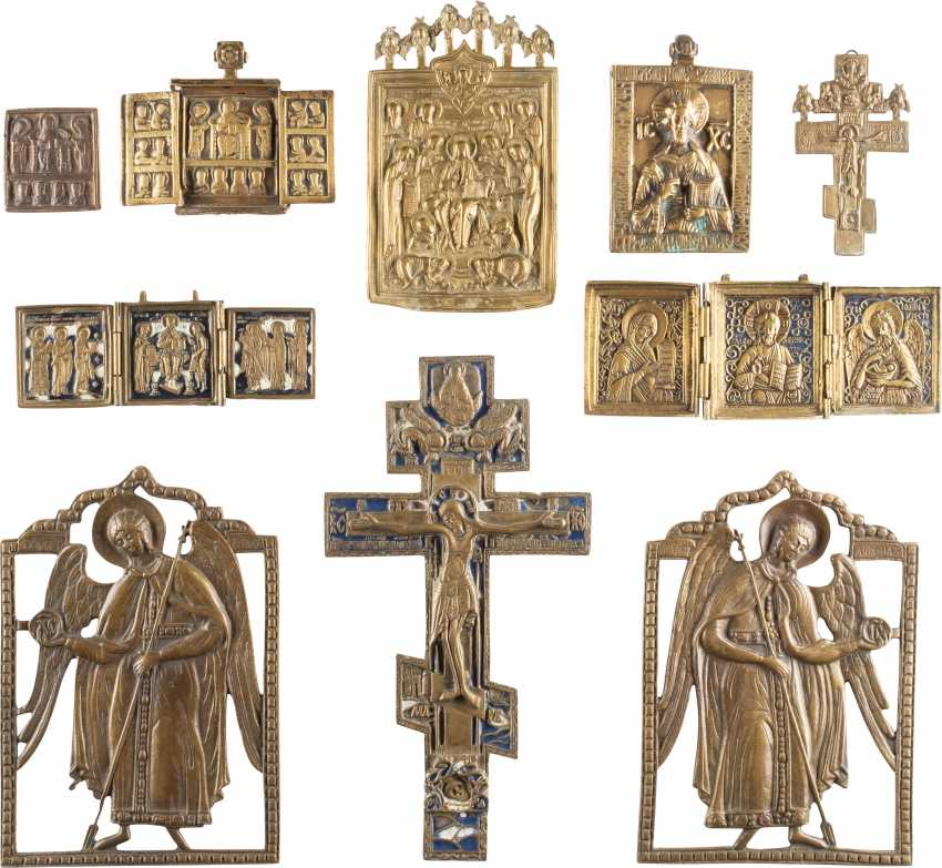 A DATED ICON, THREE TRIPTYCHA, TWO CROSSES AND FOUR BRONZE ICONS WITH DEESIS, CHRIST-REPRESENTATIONS AND ARCHANGELS MICHAEL AND GABRIEL - photo 1