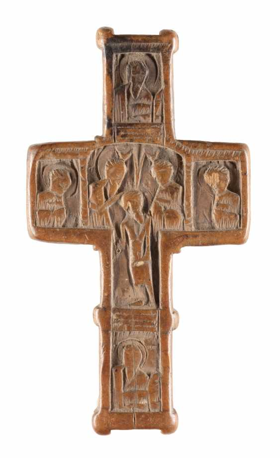 SMALL WOODEN CROSS WITH THE BAPTISM AND THE CRUCIFIXION OF CHRIST - photo 1