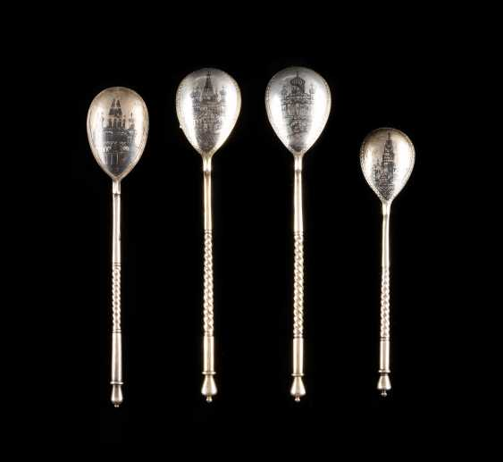 FOUR VINTAGE SIAM STERLING SILVER SPOON WITH MOSCOW'S VIEWS - photo 1