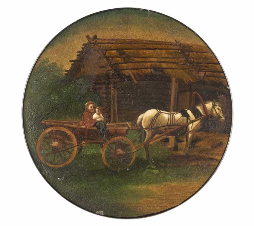 LACQUER PLATE WITH MOTHER AND CHILD IN A HORSE-DRAWN CART - photo 1