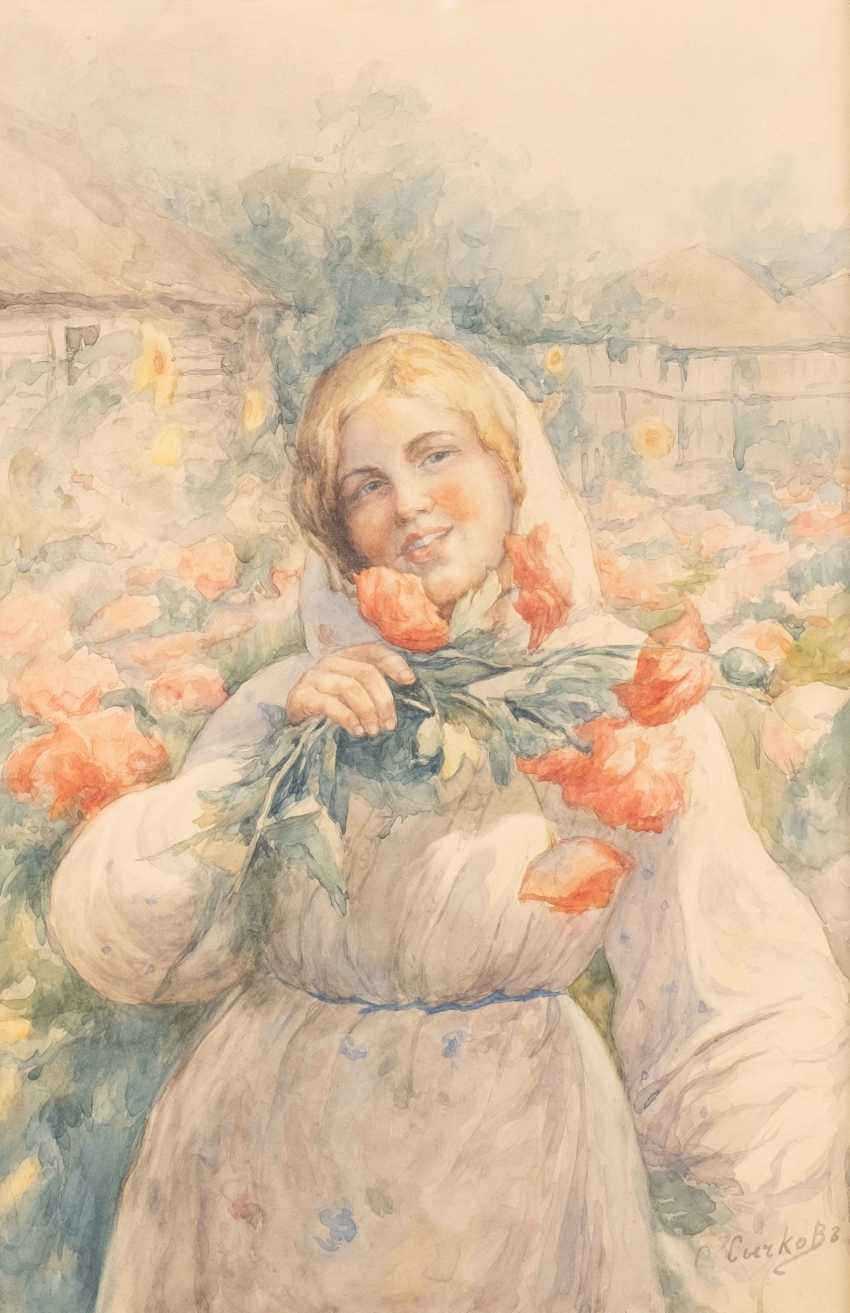 FEDOT WASILIEWITSCH SYTSCHKOW 1870 Kotschelaewo/ in Penza - 1958 Saransk Young woman with flowers - photo 1