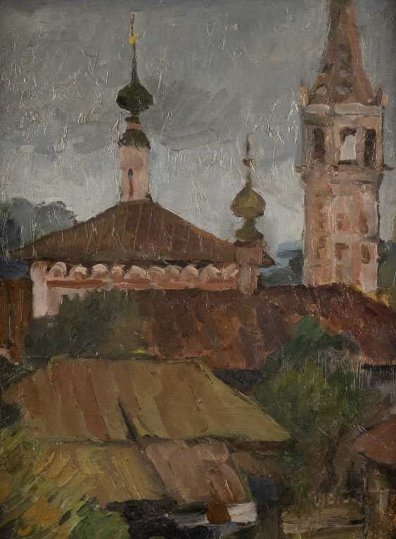 RUSSIAN PAINTER Active 1. Half of the 20. Century city view with Church architecture - photo 1