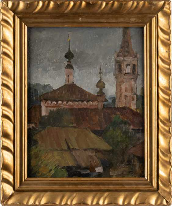 RUSSIAN PAINTER Active 1. Half of the 20. Century city view with Church architecture - photo 2