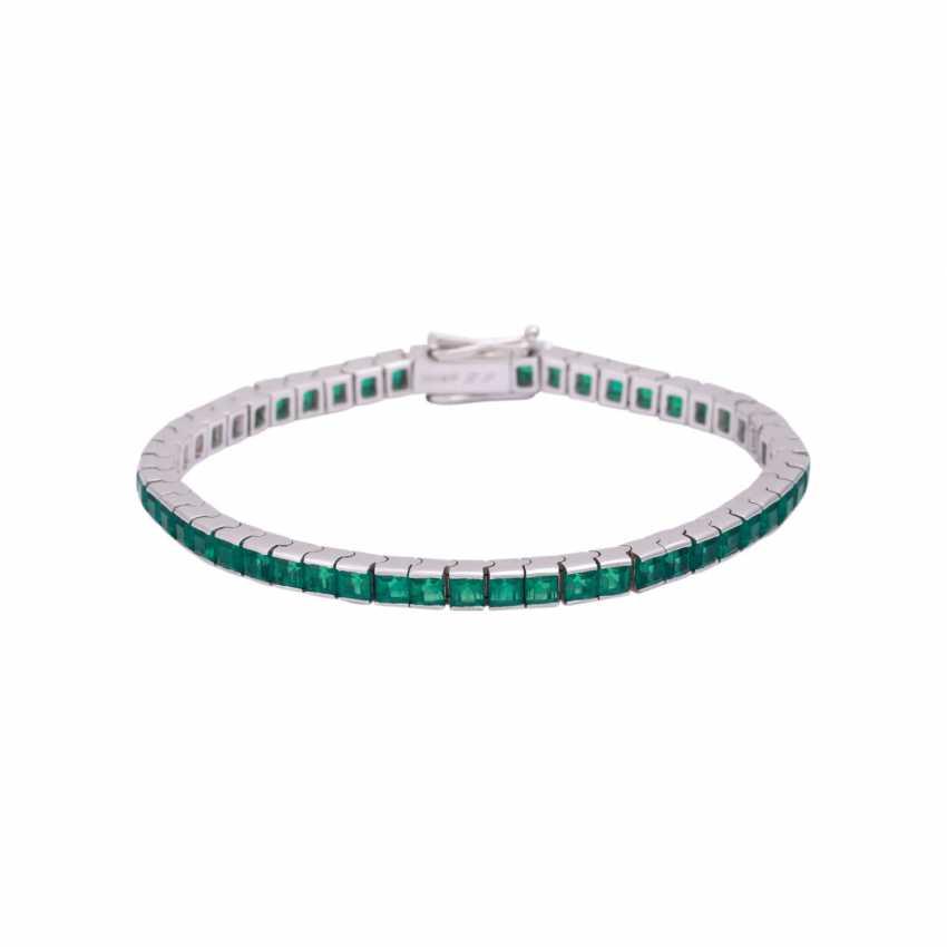 Bracelet with synthetic Smaragdcarrés, - photo 1