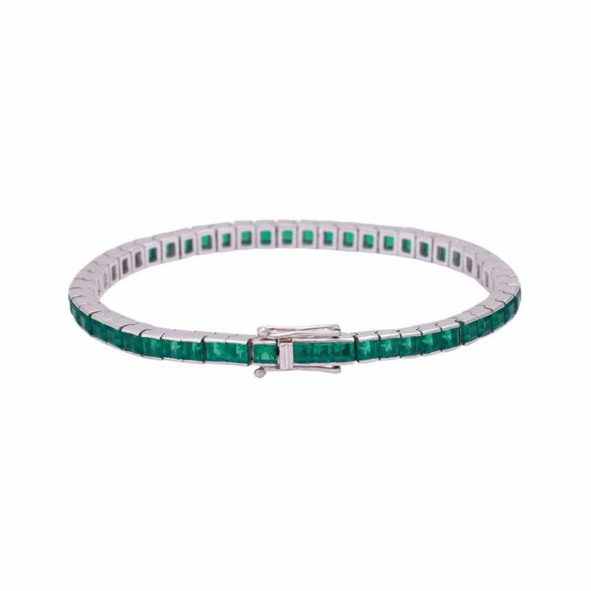 Bracelet with synthetic Smaragdcarrés, - photo 2