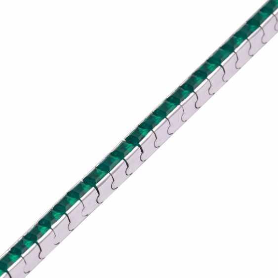 Bracelet with synthetic Smaragdcarrés, - photo 4