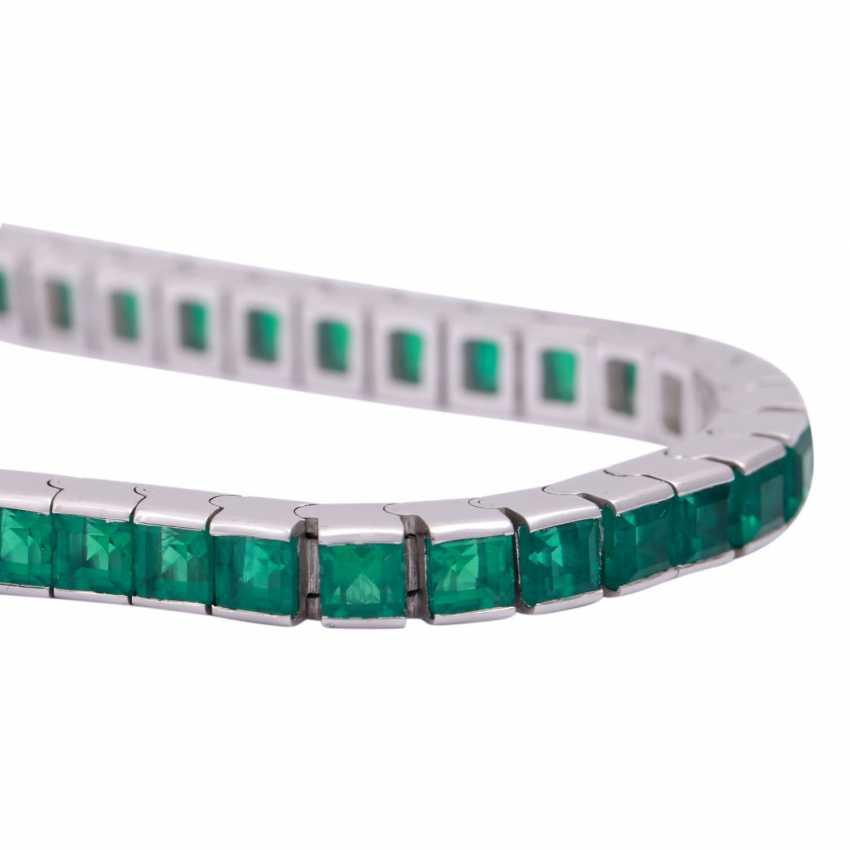 Bracelet with synthetic Smaragdcarrés, - photo 5