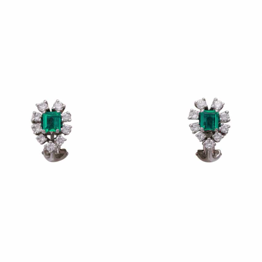 Clip-on earrings with 18 brilliant-cut diamonds, together CA. 1 ct, - photo 1