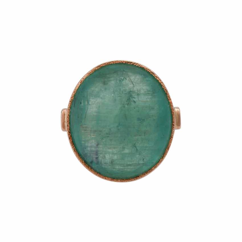 Ring with oval emerald cabochon approx. 30 ct, - photo 1
