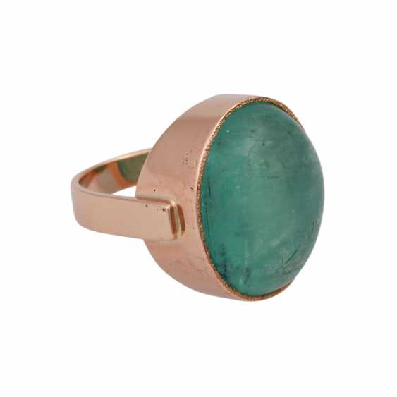 Ring with oval emerald cabochon approx. 30 ct, - photo 2