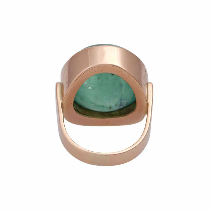 Ring with oval emerald cabochon approx. 30 ct, - photo 4