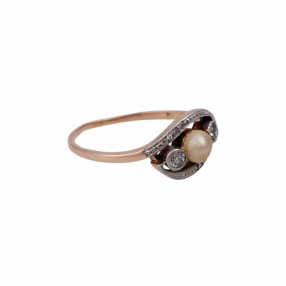 Ring with pearl and small diamonds, - photo 2