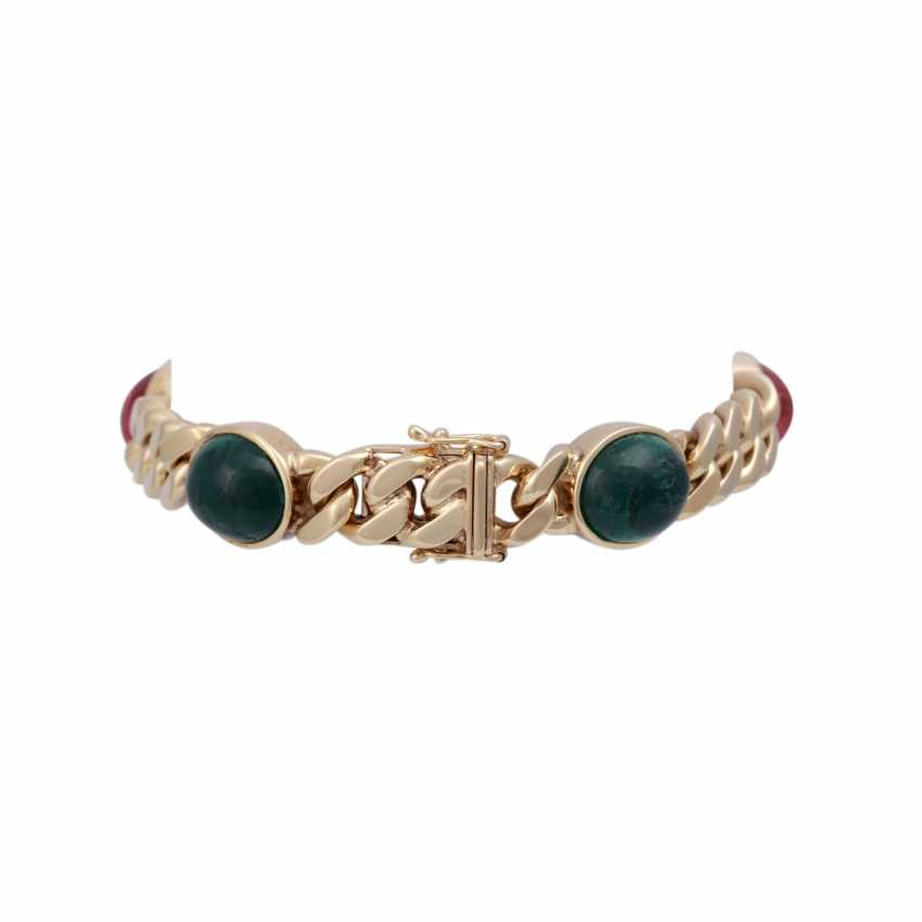 Bracelet with 5 oval tourmaline cabochons together approx. 30 ct, - photo 2