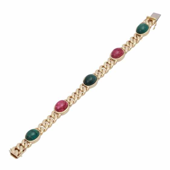 Bracelet with 5 oval tourmaline cabochons together approx. 30 ct, - photo 3