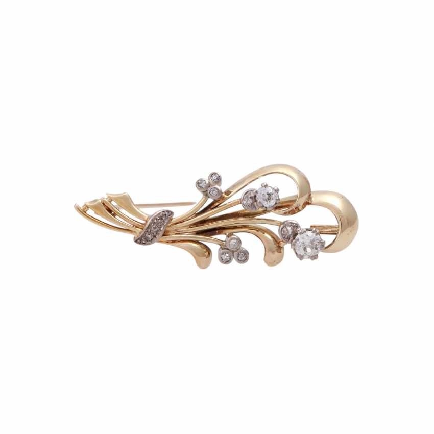 Floral brooch with old European cut diamond approximately 0.7 ct, - photo 1